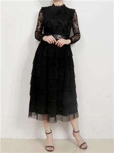 殿秀女装新款黑色蕾丝裙