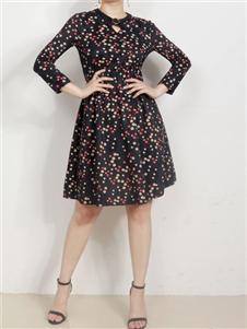 殿秀女装新款波点连衣裙
