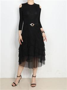 殿秀女装新款黑色连衣裙