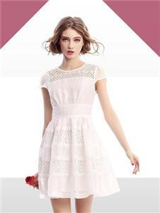 殿秀女装新款白色蕾丝裙