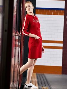 迪圖DITTO紅色連衣裙