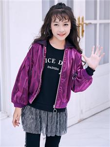 嗒嘀嗒秋冬新款紫色外套