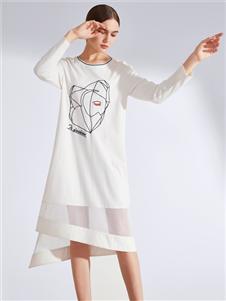 真斯贝尔新款白色连衣裙