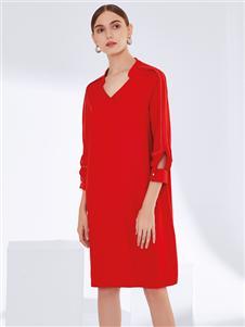 真斯贝尔新款红色连衣裙