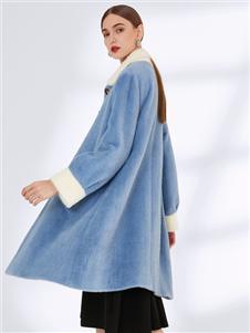真斯贝尔新款蓝色呢大衣