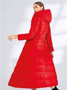 真斯贝尔新款红色收腰羽绒服