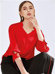 真斯贝尔新款红色T恤