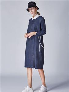 墨曲藏青色连衣裙