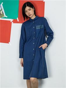 MO·陌女装新款蓝色衬衫裙