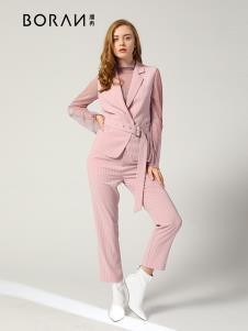 播冉女装新款粉色西服套装