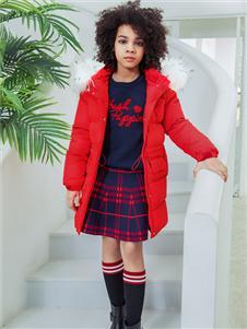 暇步士秋冬新款红色羽绒服