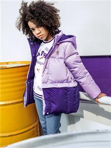 暇步士秋冬新款紫色羽绒服