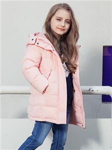 暇步士秋冬新款粉色羽绒服