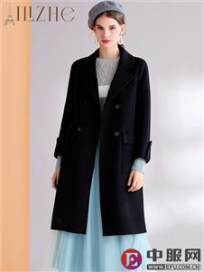 艾丽哲新款黑色呢大衣