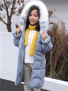 淘淘貓秋冬新款淺藍色羽絨服