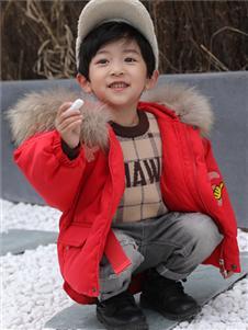淘淘猫童装新款红色羽绒服