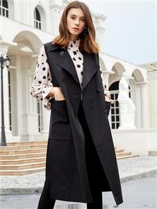 金蝶茜妮新款黑色无袖风衣