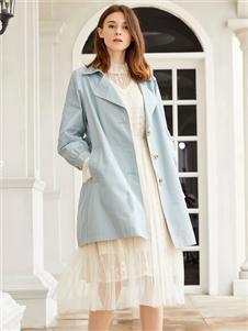 金蝶茜妮新款浅蓝色风衣