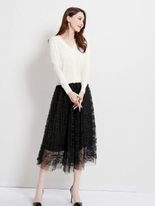 爱依莲秋冬女装新款黑裙