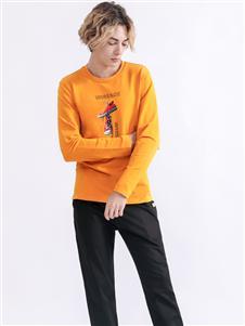 Saslax秋季新款橙色卫衣