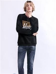 莎斯莱思男装Saslax秋季新款黑色时尚T恤