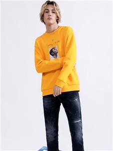 莎斯莱思男装Saslax秋季新款黄色印花T恤