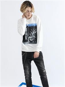 莎斯莱思男装Saslax秋季新款白色T恤