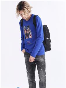 Saslax秋季新款印花长袖T恤
