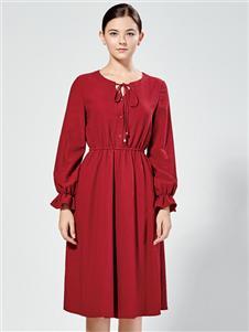 布伦圣丝新款红色连衣裙