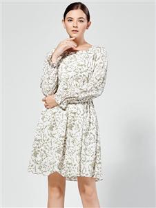 布伦圣丝新款长袖碎花裙