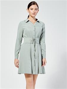 布伦圣丝新款时尚收腰连衣裙