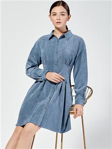 布伦圣丝新款纯色连衣裙
