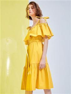 MEIILTHI黄色连衣裙