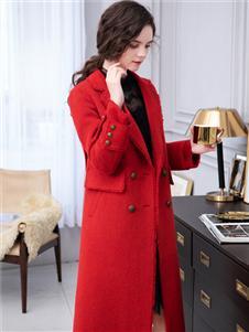 LIYA LISA莉雅莉萨新款红色大衣