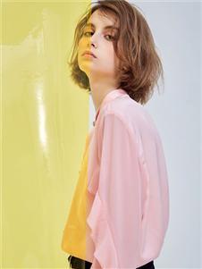 MT淡粉蝴蝶層襯衣