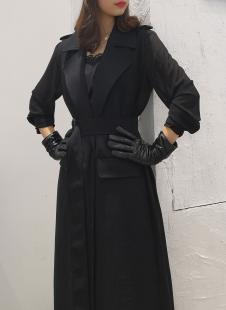 印象主题秋季新品黑色风衣