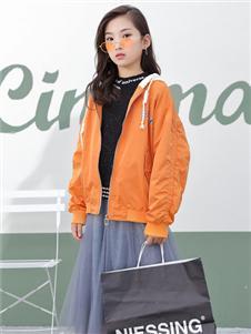 1+2=3童装秋冬新款橙色外套