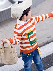 1+2=3童装秋冬新款条纹卫衣