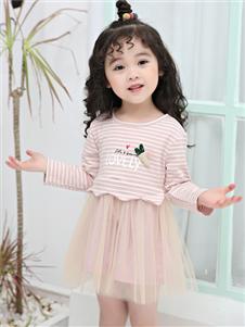 1+2=3童装秋冬新款条纹连衣裙