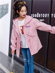 1+2=3童装秋冬新款粉色外套