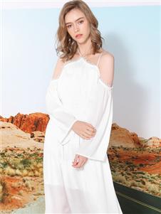 莎斯莱思女装新款露肩连衣裙
