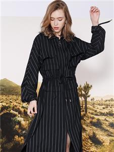 莎斯莱思女装莎斯莱思女装新款条纹连衣裙