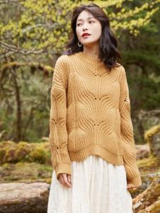 爱衣服女装爱衣服黄色毛衣