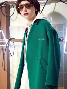 伊行2019新款綠色呢大衣