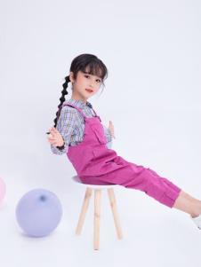 宝儿汪紫色背带裤