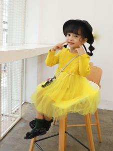 宝儿汪黄色纱裙