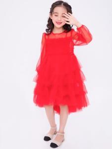 宝儿汪红色纱裙