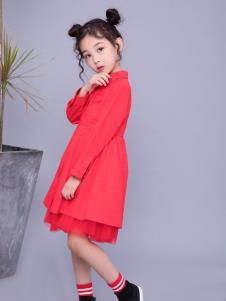 宝儿汪红色连衣裙