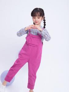 宝儿汪粉紫色背带裤