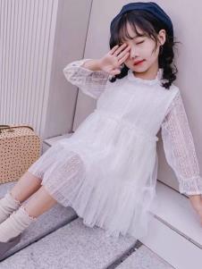 创印象童装秋季白色连衣裙